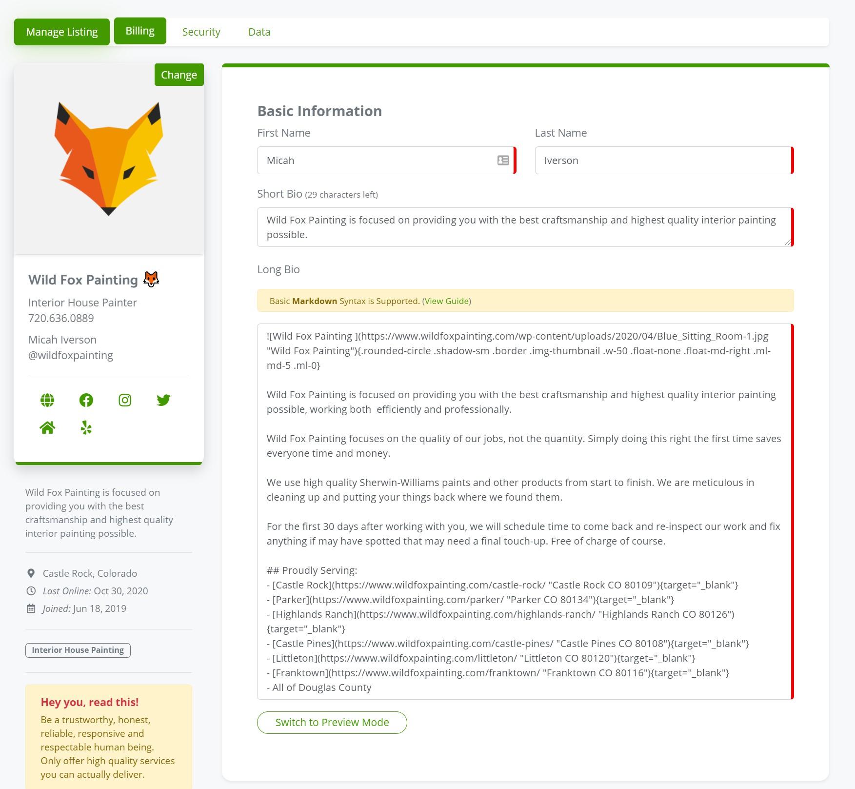 Basic Profile Information