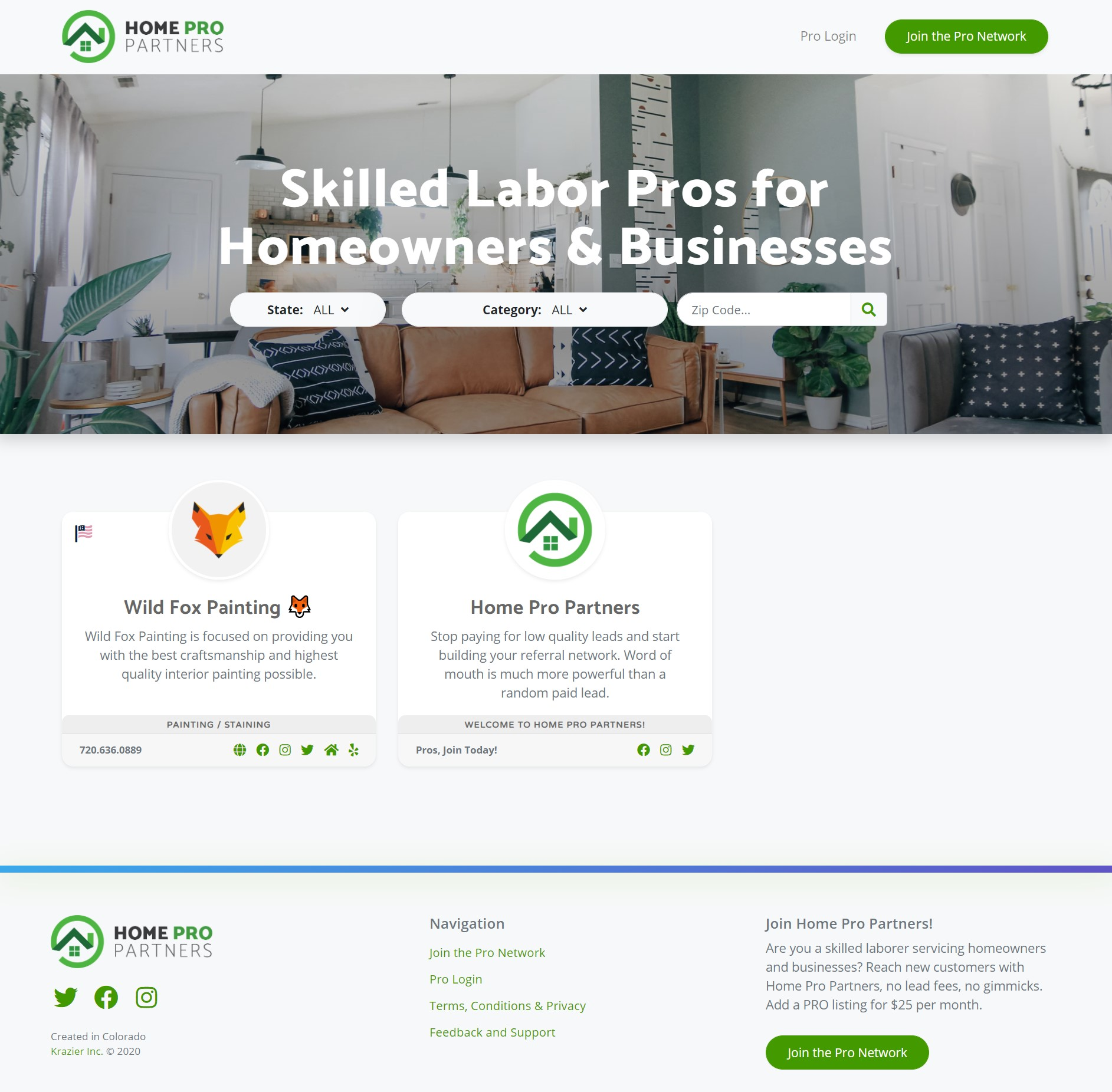 Home Pro Partners Homepage