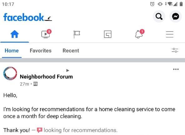 Facebook Service Request
