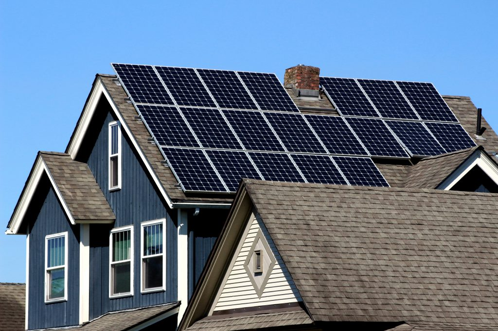 Solar Panels installed and in use on the roof of a home